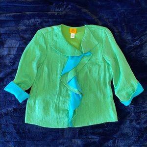 🥳RUBY RD. PETITE. BLUE & GREEN LIGHTWEIGHT JACKET